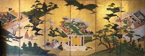 "Japnese 6-Panel Screen ""Genji Monogotari"" Early Edo"