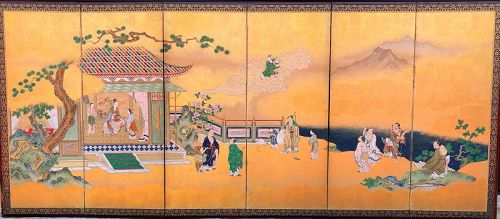 Japanese 6-Panel Screen of Chinese Figures