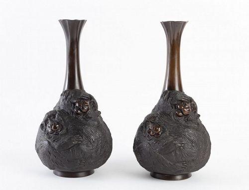 Pair of 3 Monkeys Japanese Bronze Vases