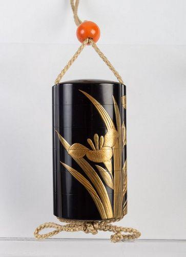 A Black-Lacquer Five-Case Inro by Yoyusai (1772-1845)