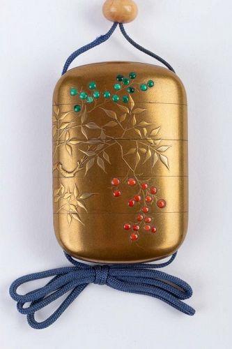 4-Case Gold Lacquered Inro Signed Kajikawa + Shibayama