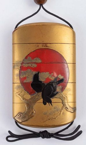 4-Case Gold Lacquered Inro Signed Kajikawa