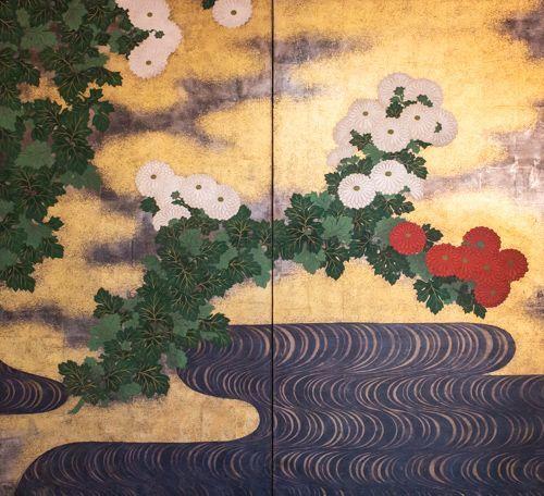 Japanese 2-Panel Screen - Rimpa School