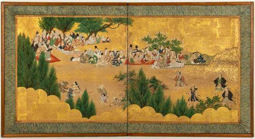 Japanese Screen on Gold Leaves Furosaki size