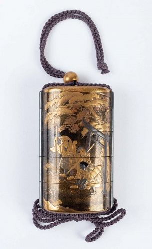 Four-Case Lacquer Inro by Jitokusai and Gyokuzan 18/19th Century