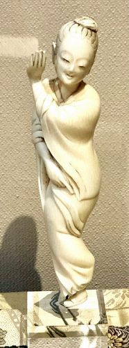 A Japanese Ivory Okimono Young Dancing Woman