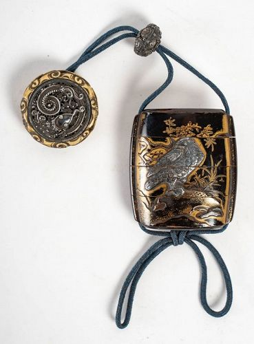 3-Compartment Gold and Brown Inro - 17th Century