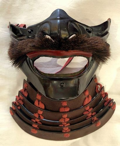 Menpo (Protective Mask) in Lacquered Brown Iron