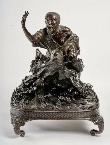 Japanese Bronze Of An Old Man In Loincloth On A Rock