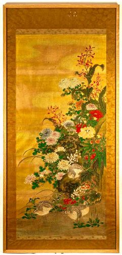Important Framed Painting Of Quails among Peonies
