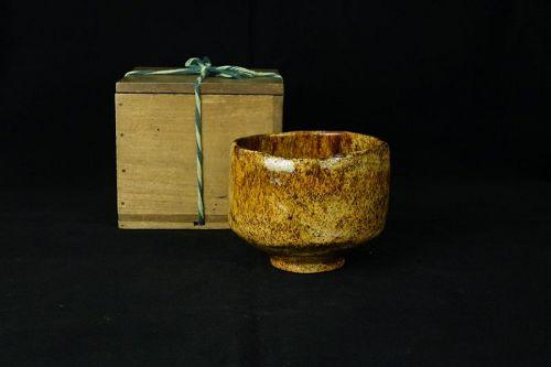 Rare Amber Raku Bowl Chawan of late Edo period (1800-1868)