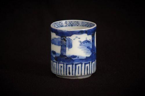 19 century Japanese Imari Blue&White Sake Cup with Landscape Design