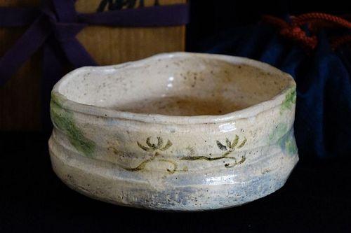 Meiji period (1868-1912) Antique Japanese Oribe Ware Tea Bowl Chawan