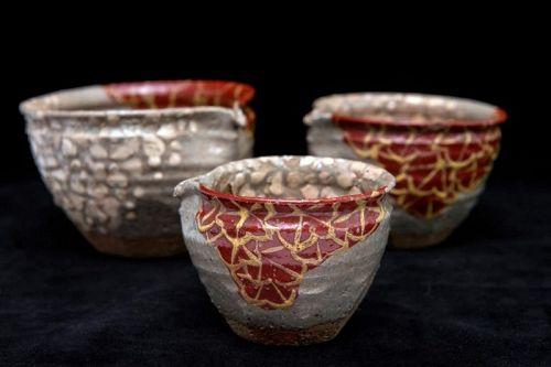 Rokubei Kiyomizu the 2nd (1790-1860) Antique Set of 3 Yuzamashi Bowls