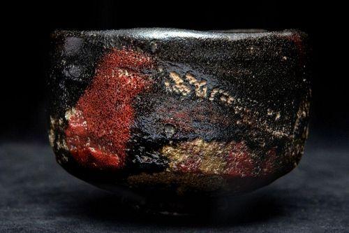 Meiji Period (1868-1912) Japanese Raku Chawan with Amazing Glaze