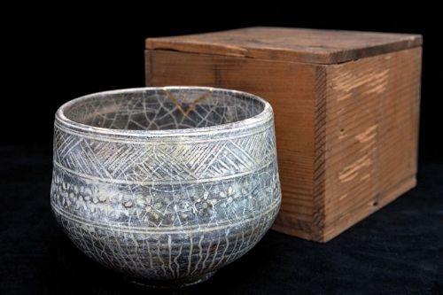 Rare Nakamura Donen (1876-1937) Mishima Ware Chawan Bowl