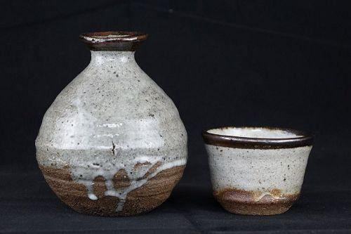 1960s Vintage Japanese Karatsu ware Sake Bottle Tokkuri and Sake Cup