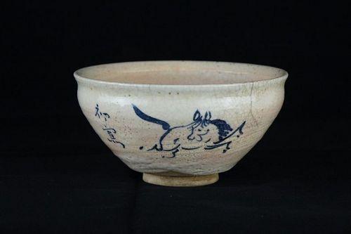 Kato Bakutai (1861-1943) Seto Ware Chawan Decorated with Horse