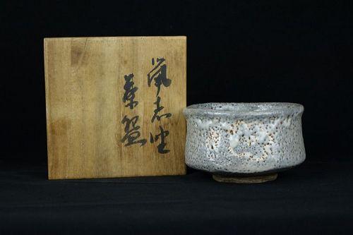 Edo Period (1603-1868) Nezumi Shino Ware Tea Bowl (Chawan)