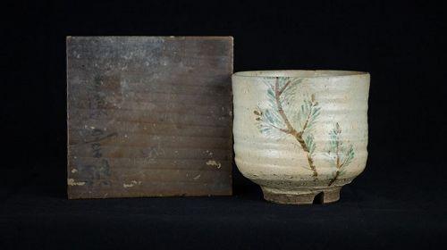 Edo Period (1603-1868) Antique Kyo Ware Tsutsu Chawan (Tea Bowl)