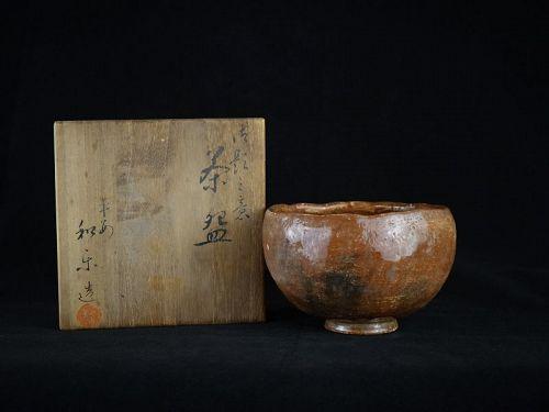 Antique Japanese Aka Raku Tea Bowl (Chawan) made by Waraku