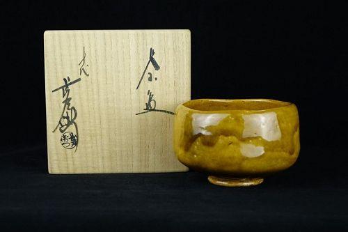 Ohi Chozaemon X (b. 1927) Amber Chawan for Tea Ceremony