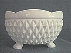 Indiana Glass Diamond Point 3 Toed Milk Glass Bon Bon