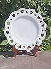 Hazel Atlas Opaque Lace Edge Milk Glass Plate