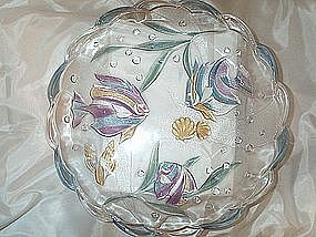 Glass Platter Adorn With Colorful Fish Scene