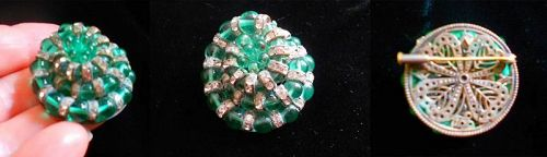 Vintage French Louis Rousselet Poured Glass Brooch