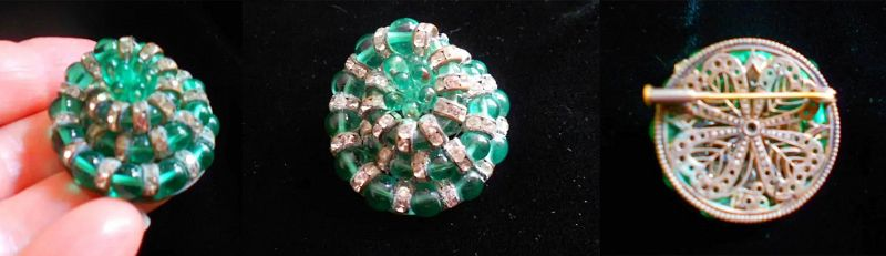 ** SOLD *** French Louis Rousselet Poured Glass Brooch