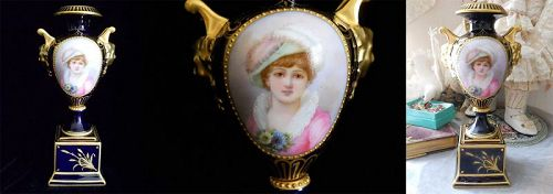 Royal Vienna Miniature Portrait of a Lady Colbalt Blue and Gold Vase