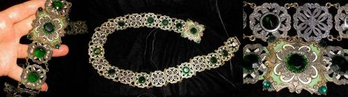 Vintage Czech Enamel and Glass Jewel Link Belt - Necklace