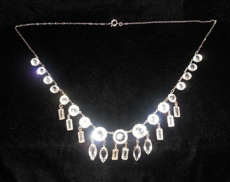 Art Deco Crystal Fringe Necklace
