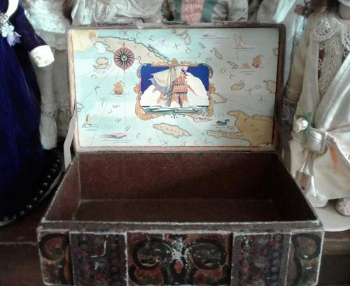Antique Lithograph Treasure Chest Toy Box
