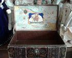 Antique Lithograph Treasure Chest Toy Box
