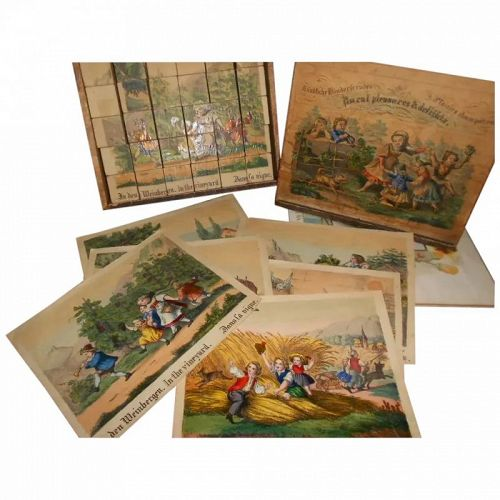 Antique German Children's Painted Lithograph Box of Blocks
