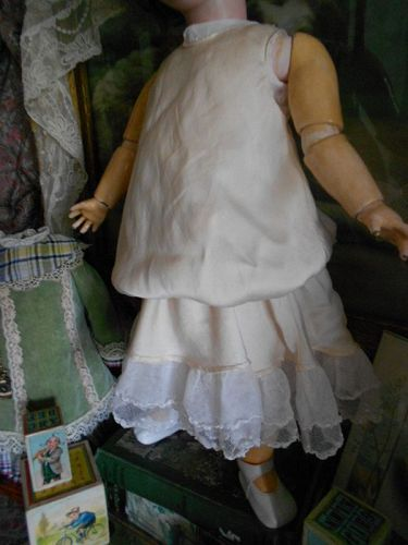 Silk Charmeuse Doll Slip with Tulle Netting Trim