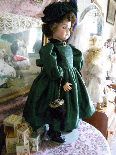 Antique Style Doll Emerald Green Bebe Ensemble