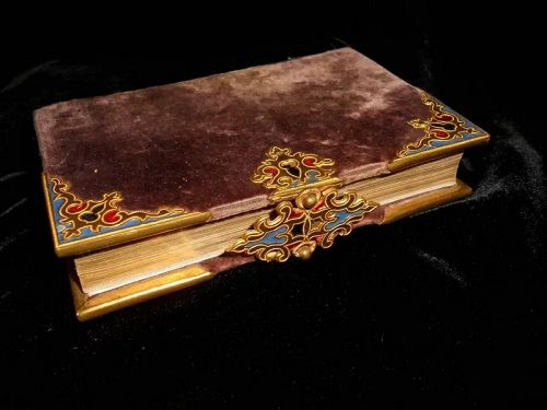 ** SOLD *** Antique French Enameled Ormolu Missels de Marie Book