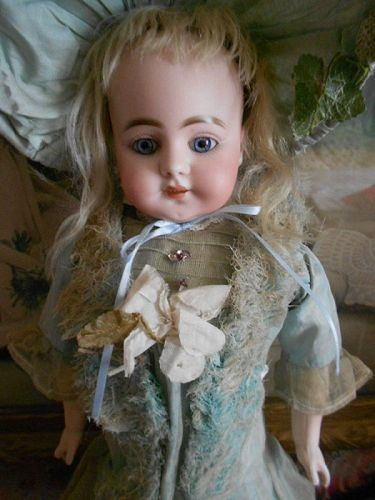 *** SOLD *** Early Simon and Halbig 7.20 Doll in Antique Blue Ensemble