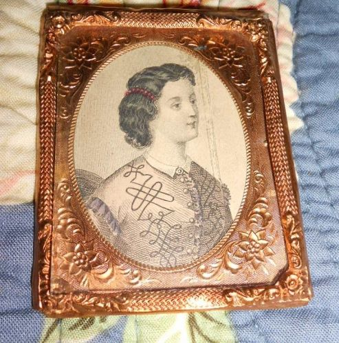Antique Doll House Lady Fashion Print Ormolu Frame
