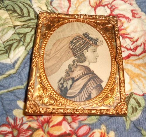 Antique Doll House Ormolu Frame Lady�s Profile Fashion Print