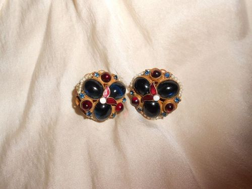 Hobe Renaissance Cabochon Glass and Enamel Earrings