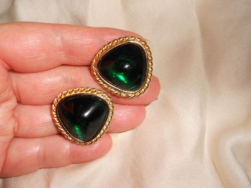 Vintage Green Gripoix Cabochon Glass Earrings