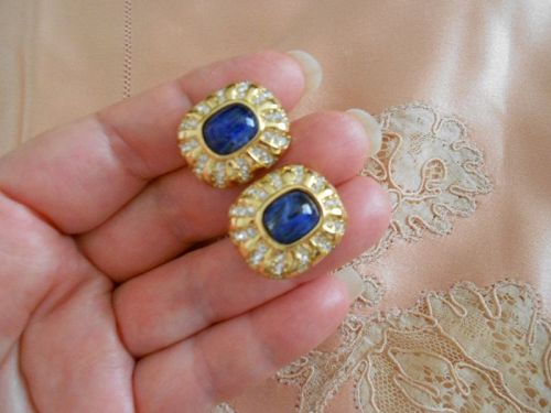 *** SOLD ** Christian Dior Flawed Cabochon Glass Earrings