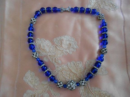 Art Deco French Blue Gripoix Glass Necklace