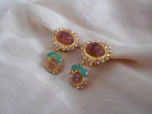 Christian Dior �Jewels of India� Molded Cabochon Glass Drop Earrings