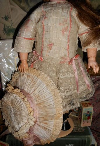 Antique Style Doll Dress with Wide Brim Hat of Antique Fabrics