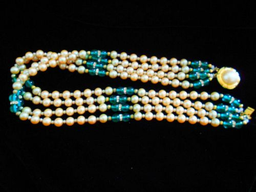 Vintage Glass Pearls with Emerald Glass Beads Four Strand Necklace